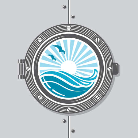blue abstract: image of ship porthole with glass