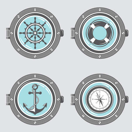 nautical collection of portholes with anchor, ship helm, lifebuoy and compass