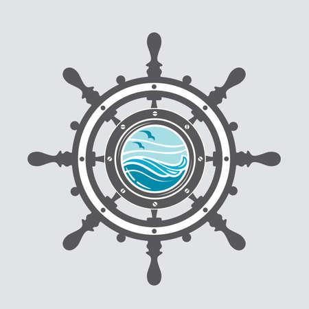 image of ship helm and porthole with sea waves Illustration