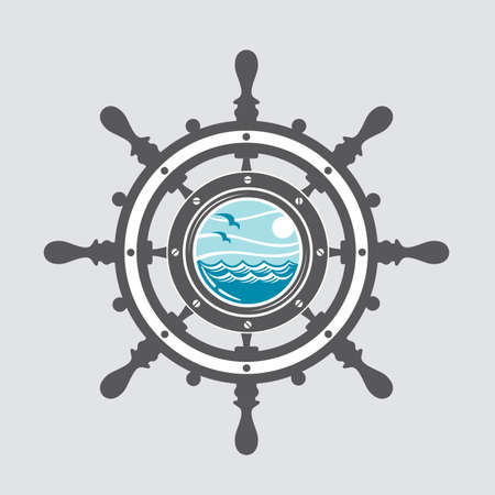 blue abstract: image of ship helm and porthole with sea waves Illustration