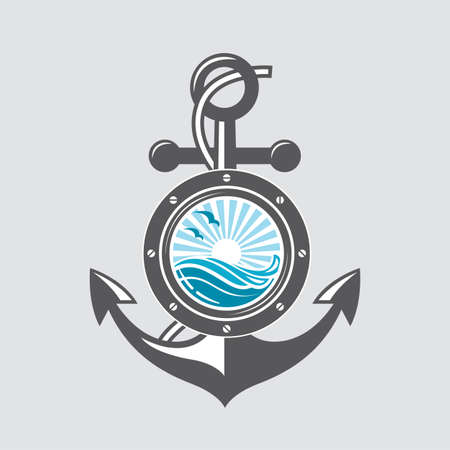 water wave: image of ship anchor and porthole with sea waves