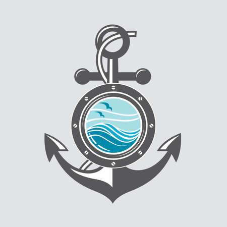 logo design: image of ship anchor and porthole with sea waves