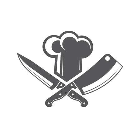 cuchillo de cocina: Monochrome illustrations of crossed knives and chef hat