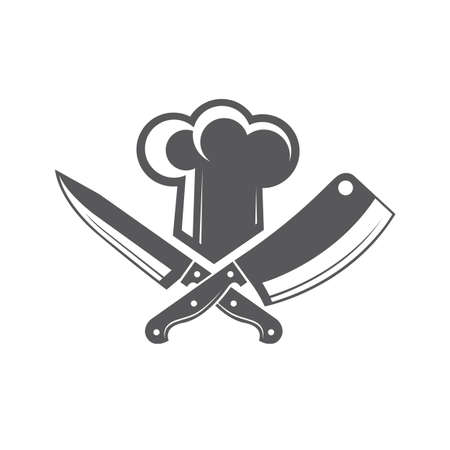 Monochrome illustrations of crossed knives and chef hat