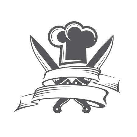monochrome illustrations of crossed knives and chef hat with mustache