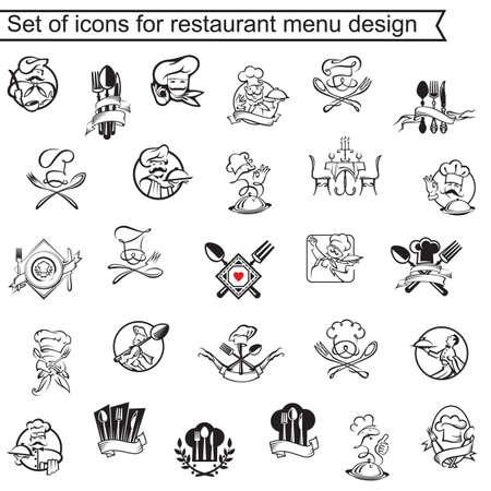 raccolta di icone per la progettazione di menu ristorante Vettoriali