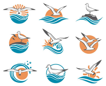 Collection of seagull icons with sea waves Ilustração