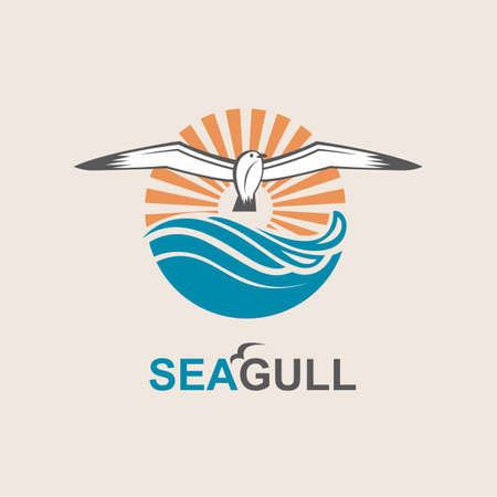 river: Seagull icon with sea waves