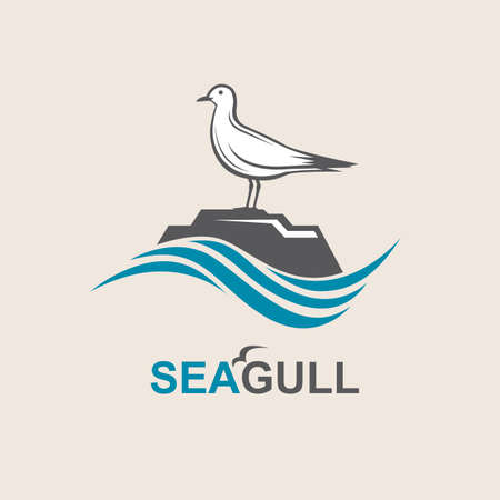 abstract waves: Seagull icon with sea waves