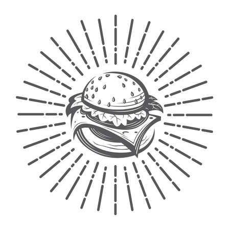 Fast food image with burger and rays