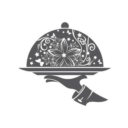 piatto: Ristorante icona con vassoio di piatto in mano Vettoriali