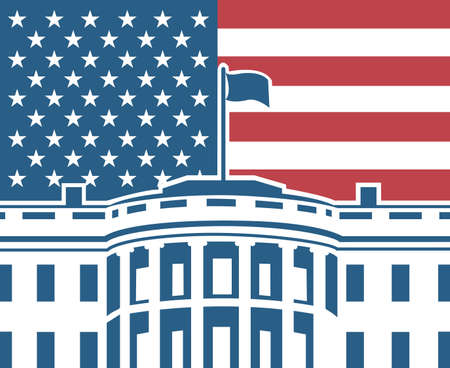 flag: White house building icon in Washington DC Illustration