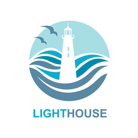 lamp light: lighthouse icon design with ocean waves and seagulls