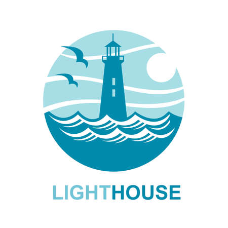 abstract waves: lighthouse icon design with ocean waves and seagulls