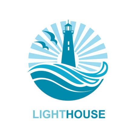 house logo: lighthouse icon design with ocean waves and seagulls