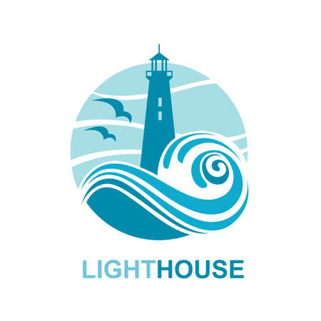 river: lighthouse icon design with ocean waves and seagulls