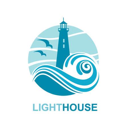 vuurtoren pictogram ontwerp met golven van de zee en meeuwen