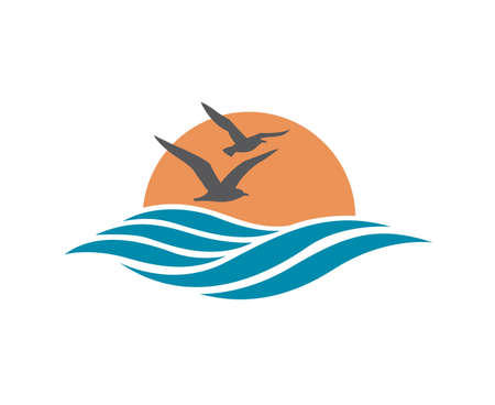 abstract design of ocean logo with waves and seagulls  イラスト・ベクター素材