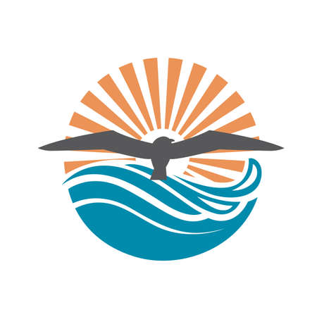 water: abstract design of ocean logo with waves and seagulls Illustration