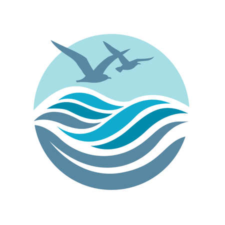 water ripple: abstract design of ocean logo with waves and seagulls Illustration