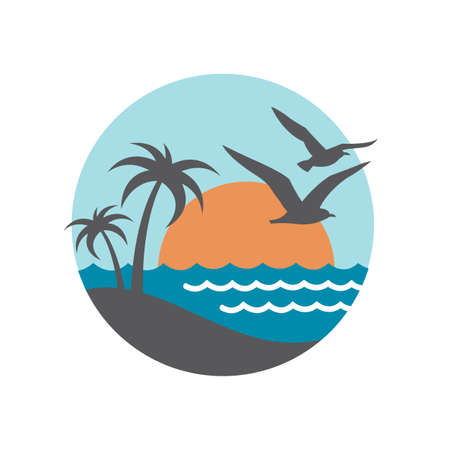 ocean waves: abstract design of ocean logo with waves and seagulls Illustration