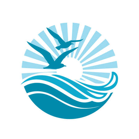 circular blue water ripple: abstract design of ocean logo with waves and seagulls Illustration