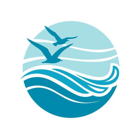 Abstrakte Gestaltung von Ozean-Logo mit Wellen und Möwen Standard-Bild - 74639947