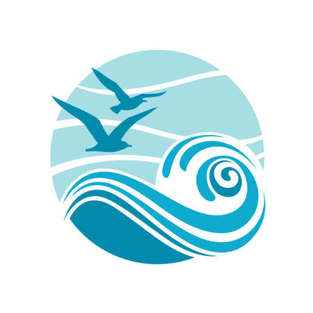 drop water: abstract design of ocean logo with waves and seagulls Illustration