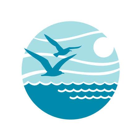 波とカモメ海ロゴの抽象的なデザイン