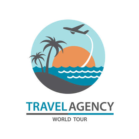 drop water: abstract travel logo with aircraft and ocean