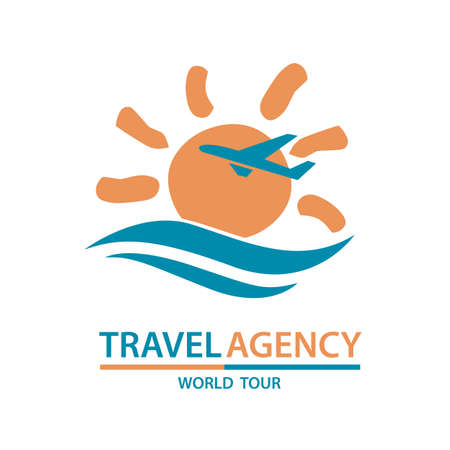 round logo: abstract travel logo with aircraft and ocean