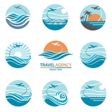 ocean waves: Travel logo collection with aircraft and ocean