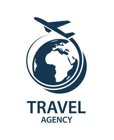travel logo image with airplane and earth Stock Illustratie