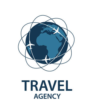 飛行機と地球旅行のロゴ画像  イラスト・ベクター素材
