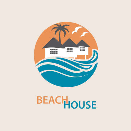 ripple: seaside beach logo with houses and palms