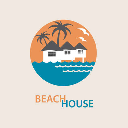home icon: seaside beach logo with houses and palms