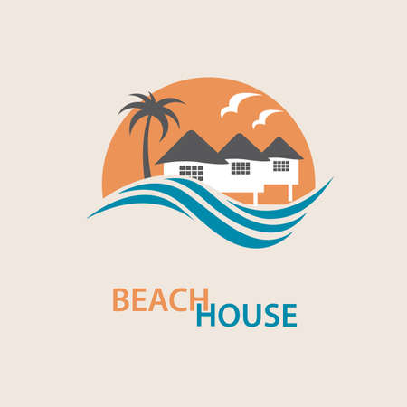 surface: seaside beach with houses and palms