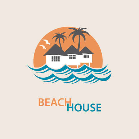 home icon: seaside beach with houses and palms