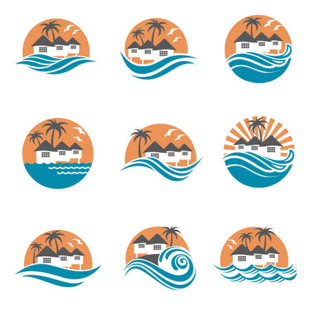 home icon: collection of seaside beach logo with houses and palms