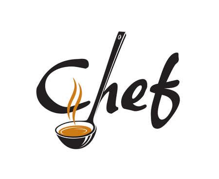 Black lettering chef with soup ladle Illustration