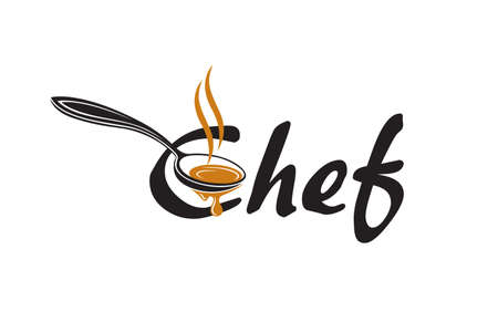 black lettering chef with soup spoon