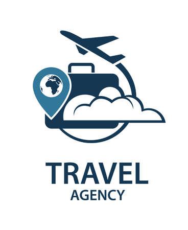 Reis logo afbeelding met koffer en vliegtuig