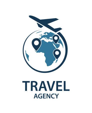 Reise-Logo-Bild mit Flugzeug und Erde