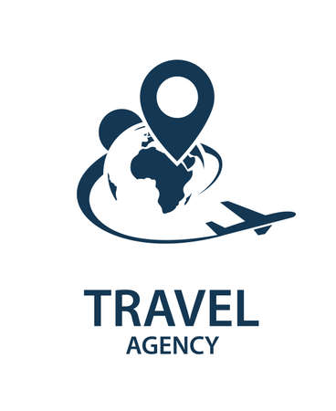 Imagen del logotipo del viaje con el aeroplano y la tierra Logos