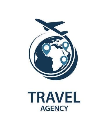 travel logo image with airplane and earth Ilustração