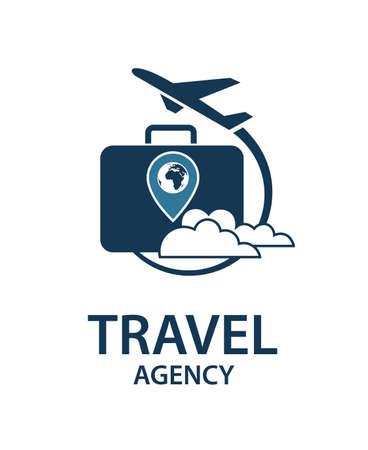Image logo de voyage avec valise et avion Logo