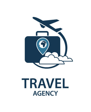 travel icon: travel logo image with suitcase and airplane Illustration