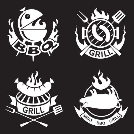 ribbon: Collection of four barbecue banners Illustration