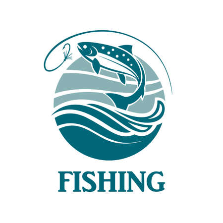 waves: Salmon fishing emblem with waves and hook