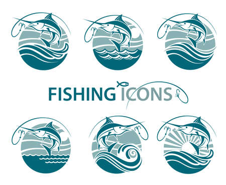 Collection of fishing emblems with waves and hook